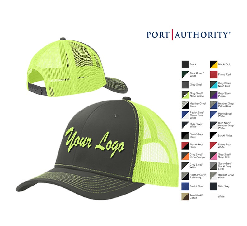 1b1541c1f Port Authority Snapback Trucker Cap C112/ Custom Trucker Hats / Custom Hats  / Embroidery Hats / Monogram Hats