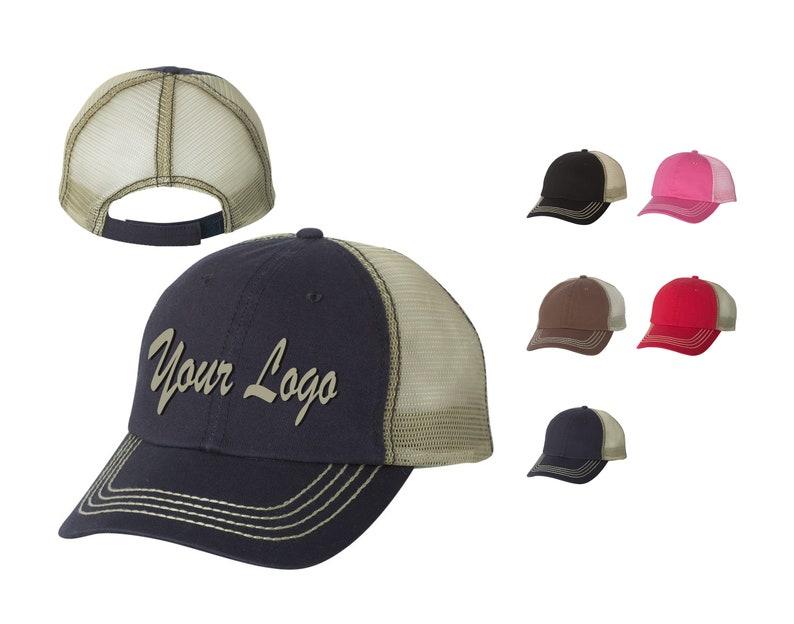 15b4762d5 Mega Cap - Washed Twill Trucker Cap - 6894 / Custom Hats / Embroidery Hats  / Monogram Hats