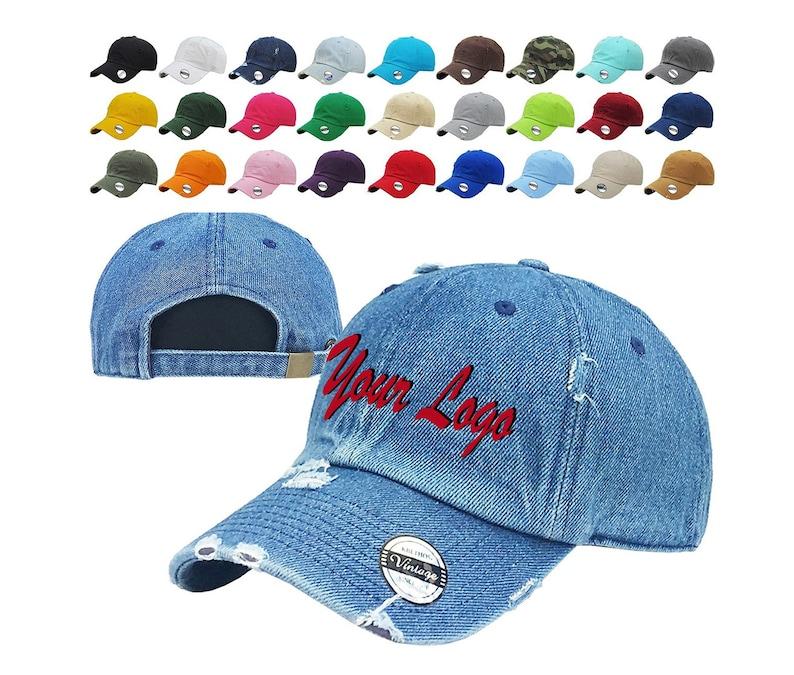 b2136e2a8 Distressed Baseball Cap KB4005-Kbethos / Custom Hats / Embroidery Hats /  Monogram Hats/Custom Caps