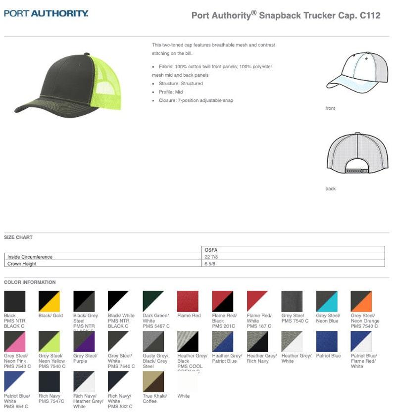 8b3a0bc51 Port Authority Snapback Trucker Cap C112/ Custom Trucker Hats / Custom Hats  / Embroidery Hats / Monogram Hats