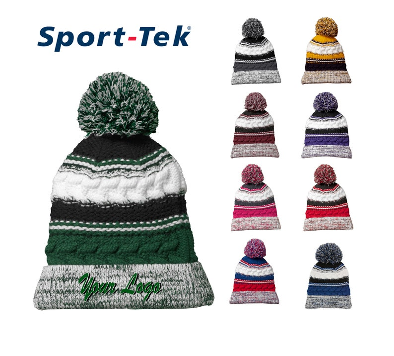 80a7dcf6f9b Sport-Tek® Pom Pom Team Beanie STC21   Custom Beanies  Custom