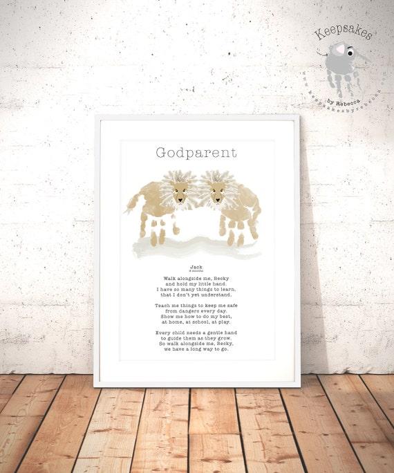 33faa842c93a Godparent Gift personalized Keepsake Lion hand print