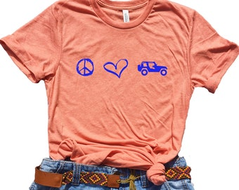 Peace Love Jeeps Jeep Shirt Women Gift Gifts For Her Cute Tee Lover Girlfriend