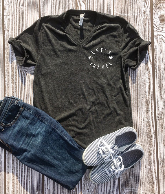 Let's Travel Tee Travel Holiday Gift Guide for Women Gray Tee with Let's Travel circle logo