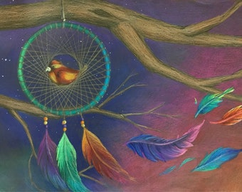 """Colored pencil drawing, """"Dreambirds"""""""