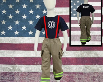 Firefighter Personalized TAN 2-Piece Toddler Birthday Outfit