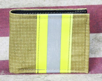 Firefighter TAN Turn-out Gear Bi-Fold Wallet with Optional Personalization