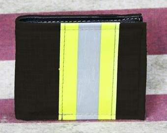 Firefighter BLACK Turn-out Gear Bi-Fold Wallet with Optional Personalization