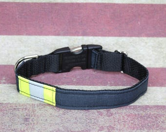 Firefighter Dog Collar with Metal Buckle and BLACK Real Turnout Material