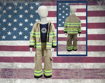 Firefighter Personalized TAN 3-Piece Toddler Birthday Outfit
