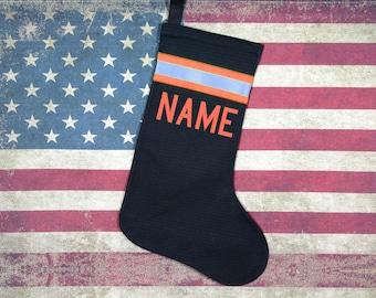 Firefighter Christmas Stocking Black with Orange
