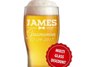 Personalized Pilsner Glasses, Personalized Glasses, Groomsmen Gift, Engraved Beer Glasses, Custom Beer Glass, Pub Glass, Etched Beer Mug