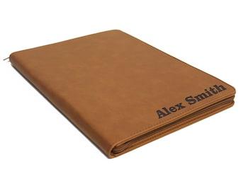 Leather Portfolio Zipper, Personalized Portfolio, Custom Padfolio, Zipper Padfolio, Personalized Notebook, Personalized Leather Portfolio