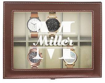 Watch Box for Men, Watch Case for Men, Watch Case Personalized, Watch Box for Him, Mens Watch Case, Engraved Watch Case, Watch Holder