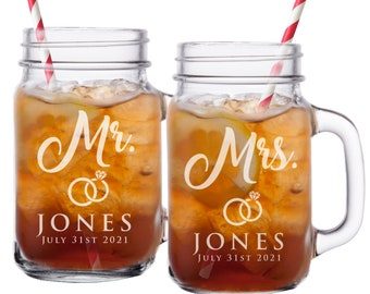 Mr and Mrs Gifts, Bride and Groom Toasting Glasses, Mr and Mrs Mason Jar Glasses, His and Her Gifts, Husband and Wife Gifts, Set of 2