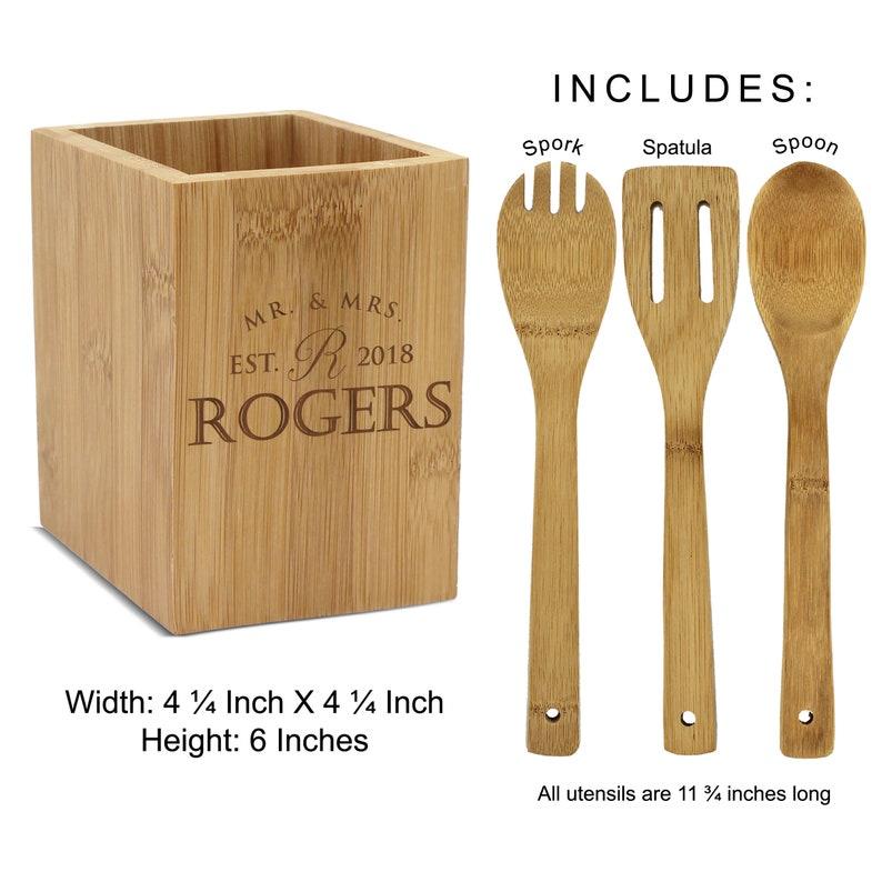 Square Bamboo Utensil Holder Custom Bamboo Wood Utensil Holder Engraved Utensil Box Kitchen Decor Kitchen Utensil Square Box Holder