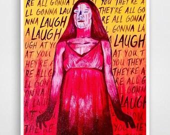 Carrie movie; Carrie horror; Stephen King; scream queen; creepy girl art; Halloween print; Horror art