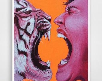 Hear me roar; Tiger print; Tigress; Feminist art; Attitude girl; Scream print; tiger king; Mother's Day gift