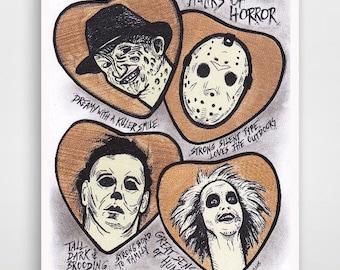 Hunks of Horror; Freddy Kruger; Jason Voorhees; Michael Myers; Beetlejuice; Nightmare on Elm St; Friday the 13th; Halloween; Horror art