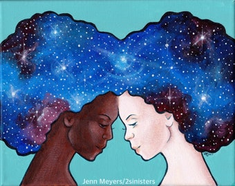 Let's Put Our Heads Together; Galaxy Girls; Equality print; Space print; Feminist art; Mother's Day gift