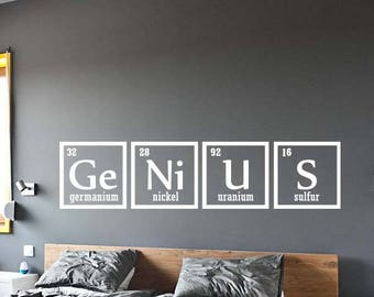 Genius Sign Wall Decal Vinyl Sticker Periodic Table Elements Chemistry Living Room Decor