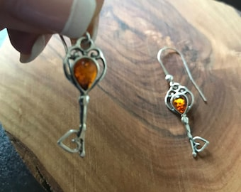 "Baltic Amber Earrings ""Key to my heart"" Sterling Silver 925."