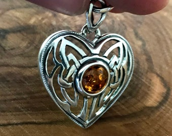 Heart shape Honey Baltic Amber Pendant, Sterling Silver, 925.