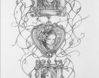 3 Girls art print - A5