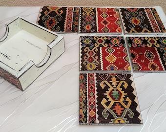 6 Decoupage Wooden Coasters with Box, Bosnian carpet coasters, Decoupage Furniture, Sarajevo Souvenirs, Bosnia & Herzegovina