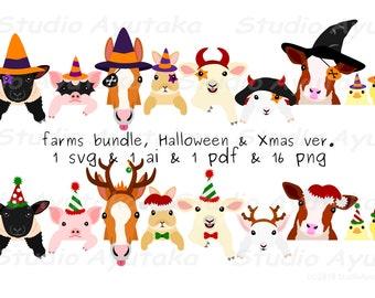 farm animals bundle, Halloween and Xmas ver, svg, ai, pdf, png