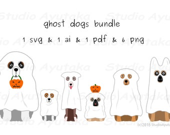 dogs in ghost costume, Halloween, svg, ai, pdf, png
