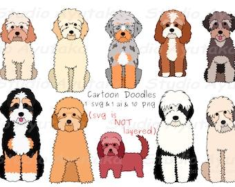 10 doodle breeds cartoon dogs bundle, svg, png, ai