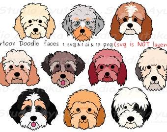 10 doodle breeds cartoon dog faces bundle, svg, png, ai