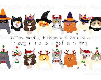 kitties bundle, Halloween and Xmas ver, svg, ai, pdf, png