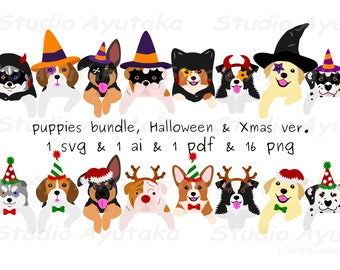 puppies bundle, Halloween and Xmas ver, svg, ai, pdf, png
