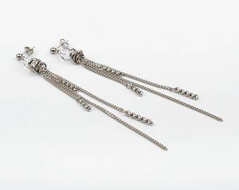 Long earrings, stainless steel, Swarovski Crystal