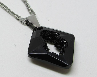 Long necklace - stainless steel - Swarovski Crystal - new