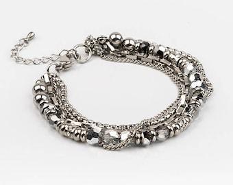 Multirang bracelet, swarovski, stainless steel
