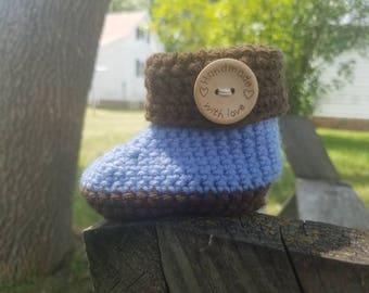 Crochet baby booties,  baby booties, crochet booties, cuffed baby booties, cuffed booties, handmade baby booties