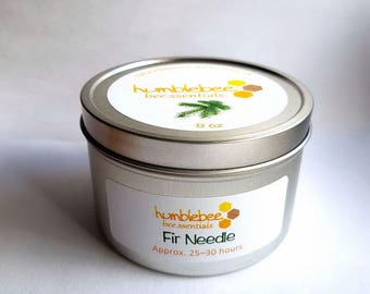8 OZ {Fir Needle} bee.ssential beeswax tin candle*CLEARANCE*
