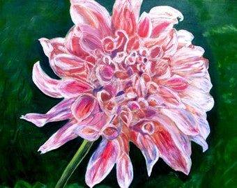 Original Painting Realistic Dahlia