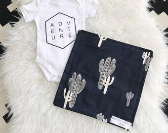 Cactus Print Minky Security Blanket, Black and White Pattern, Lovey Blanket, Black Minky Blanket, Cactus, Lovey Minky Blanket, Security