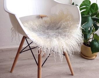 Sheepskin Seat Cover | Wool Chair Pad | Curly Fur Chair Mat | Felted Fur |  Leather Free Sheepskin | Scandinavian Decor | Scandinavian Home