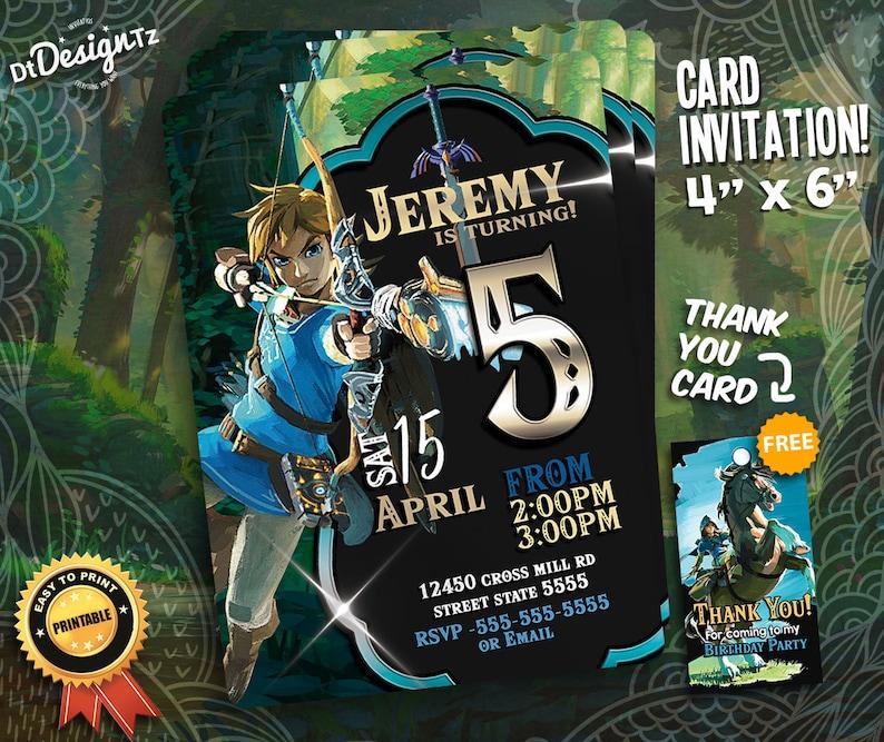 Zelda Birthday Invitation The Legend Of