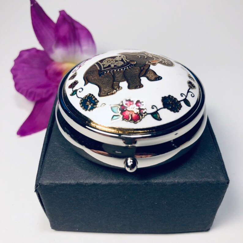 Pill Case New Colorful Classy Round Cloisonne Gift Box New Pill Box Pill Organizer Pill Holder Jewelry Case Trinket Box Jewelry Box