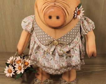 Pig Martha. Textile doll, textile toys, cloth toy, rag doll, rag toy, handmade doll, handmade toy, interior toy, interior toy pig 2019