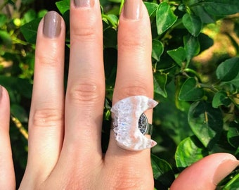 Amethyst Crystal Crescent Moon Ring, Healing and Meditation Jewelry, Silver Adjustable Size Ring, Crystal Ring, Natural Stones, Gift For Her