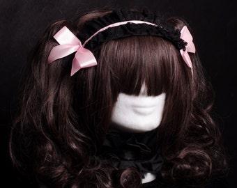 Headpiece Sweet Gothic lolita black pink red sanding
