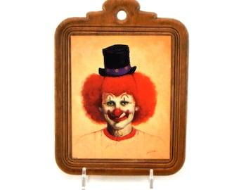 Vintage Clown Wall Plaque / John Boden / Clown Print On Wooden Plaque