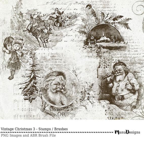 Nostalgische Weihnachtsbilder.Les Timbres De Noël Timbres Numériques Brosses De Scrapbook Noël